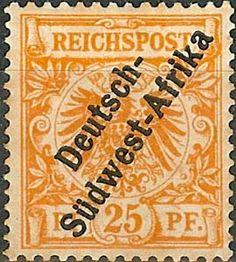 первые марки этой колонии были изготовлены с помощью надпечаток  Deutsch - Sudwest - Afrika (Германская Юго-Западная Африка) на марках Германии.