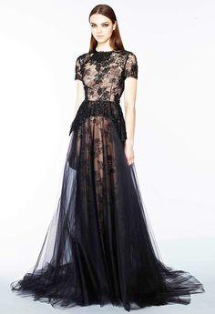 Marchesa Pre-Fall 2015 #black #dress #lace #elegant