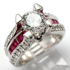 Natural Ruby & Diamond Engagement Ring Semi Mount Solid Platinum - EraGem