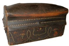 Antique Trunk Rare Circa 1810 Museum Quality Soft Top Leather Covered W/STUDS | eBay