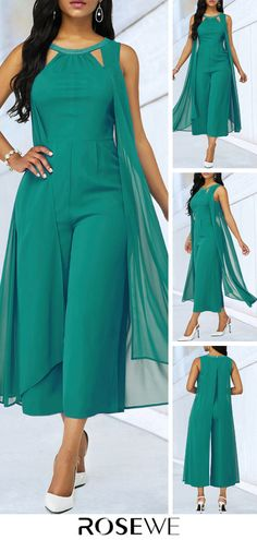 Hot Sale & Green Cutout Neckline Chiffon Overlay Jumpsuit is part of eye-makeup - eye-makeup African Fashion Dresses, Fashion Outfits, Womens Fashion, Fast Fashion, Fashion Bags, Fashion Ideas, Fashion Jewelry, Classy Dress, Jumpsuits For Women