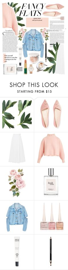 """""""Fancy Flats"""" by twiluv18 ❤ liked on Polyvore featuring Sophia Webster, MaxMara, Vika Gazinskaya, Christian Louboutin, MAKE UP FOR EVER, Clarins, CLUSE and chicflats"""