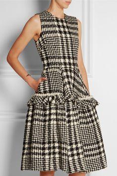 Simone Rocha|Faux pearl-embellished plaid bouclé-tweed dress|NET-A-PORTER.COM