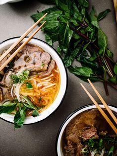 spicy vietnamese noodle soup: bun bo hue recipe via Ramen Recipes, Asian Recipes, Cooking Recipes, Healthy Recipes, Ethnic Recipes, Asian Desserts, Healthy Food, Bun Bo Hue Recipe, Vietnamese Recipes