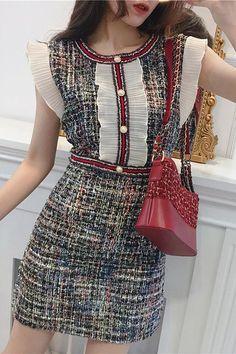 Ruffles Pearls Plaid Woolen Dress Tweed, Ruffle Dress, Ruffles, Woolen Dresses, Preppy Dresses, Mini Vestidos, 1940s Fashion, Summer Dresses For Women, Ideias Fashion
