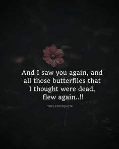 And I saw you again and all those butterflies that I thought were dead flew again ... . . . . #quoteoftheday #butterfly #