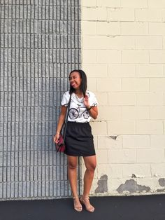 Bicycle Graphic Tee & Vera Bradley Tess Crossbody // how to style a graphic tee, tee shirt outfit ideas, graphic tee, ways to wear, style tip, blogger style, leather purse, crossbody bag, fall bag, j crew factory skirt, pink lipstick, fashion blogger