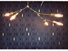 Gold Brass Chandelier modern mid century wall hanging  light.  Home decor store boutique room lighting. Sputnik inspired light.