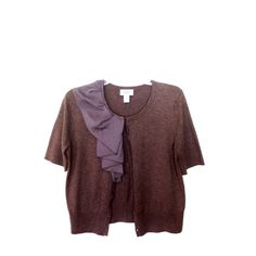 LOFT Brown Cardigan Short sleeve brown cardigan with a ruffle, lined in a gold zipper, on the front. LOFT Sweaters Cardigans