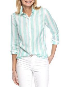 Crown  Ivy  MintWhite Even Stripe Shirt