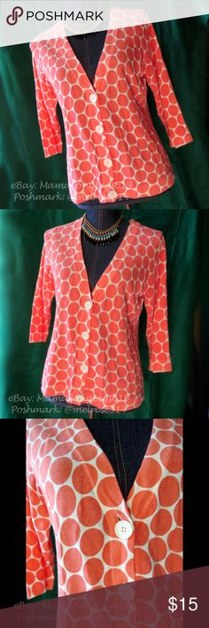 LouLou Polka Dot Cardigan Sweater Sz M Peach Adorable little cardigan made by LouLou, size M. Pretty peach and white polka dot print, made of a cotton/nylon/spandex blend. Perfect for a day at the office!  From a smoke-free home. LouLou Sweaters Cardigans