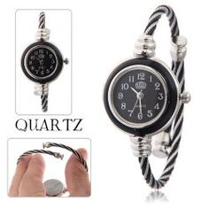 $4.42 USS Female Bangle Design Wrist Watch Oval Dial Rope Shaped Steel Band