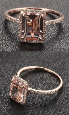 Rose Gold Morganite with Diamonds Wedding Engagement Ring