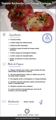 Tomate Recheado com Frango Cremoso  ➡ http://www.SegredoDefinicaoMuscular.com/receitas-saudaveis-tomate-recheado-com-frango-cremoso #Receita