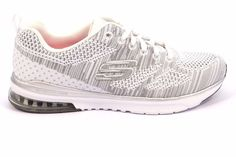 SKECHERS 12114 WSL STAND OUT AIR 36 Sneakers Donna Memory Foam Bianco Argento