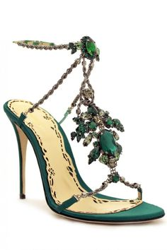 Krista Green Rhinestones and Silver Chain Jewel Sandals - preorder now on www.Precouture.com
