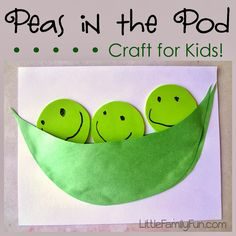 Pea Pod craft for kids! Fun, easy, and interactive.