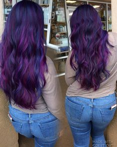 Pravana really outdid themselves with this Jewel tones Collection Jen VandenBos. Pravana really ou Cute Hair Colors, Hair Color Purple, Hair Color And Cut, Hair Dye Colors, Cool Hair Color, Deep Purple Hair, Pelo Color Morado, Creative Hair Color, Violet Hair