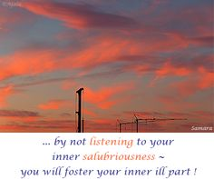 ... by not #listening to your inner #salubriousness ~ you will foster your inner ill part !