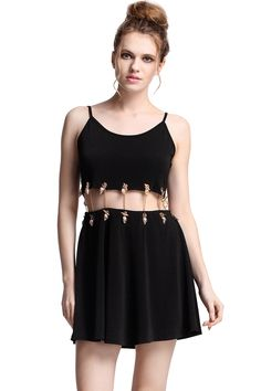 romwe clothing | ROMWE | Golden Chained Detachable Black Dress, The Latest Street ...