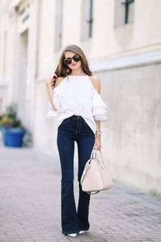 dark wash bell bottoms, white off the shoulder halter neck blouse, cream handbag, pale blue pointed heels Trendy Outfits, Fall Outfits, Kids Outfits, Summer Outfits, Fashion Outfits, Womens Fashion, Southern Curls And Pearls, Vogue, Everyday Outfits