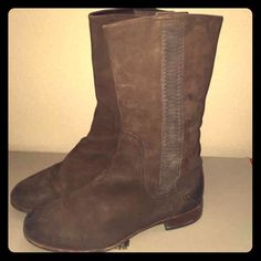 Brown leather Ugg Annissa Boots Very beautiful brown leather and suede Ugg boots. Annissa style. Authentic. Some marks on toe and back of heel as shown in photos. Sheepskin lining. Leather and suede exterior. Love these just too small. Sad to sell  UGG Shoes Winter & Rain Boots