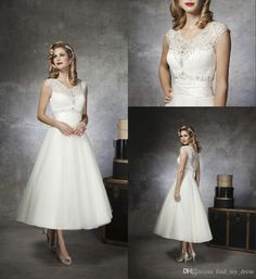 Vintage Style Tea Length Wedding Dresses Scoop Neck Sleeveless Crystals Beaded Lace Tulle A Line Short Bridal Gowns Custom Made W633 Bridal Boutiques Buy Wedding Dress From Find_my_dress, $110.62| Dhgate.Com
