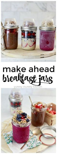 Diet Meals Mason jar breakfast and snack recipes. Vegan chia pudding, overnight oatmeal, and dragon fruit bowls. The perfect grab-and-go meals for busy families. - How to make a breakfast or snack jar for later. Breakfast On The Go, Make Ahead Breakfast, Vegan Breakfast Recipes, Snack Recipes, Oatmeal Recipes, Diet Recipes, Jar Recipes, Fruit Recipes, Vegan Recipes