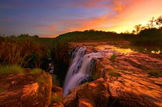 Dusk approaches over Big Mertens Falls, The Kimberley, Western Australia.