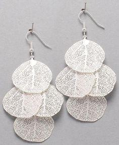 Leafy silver earrings