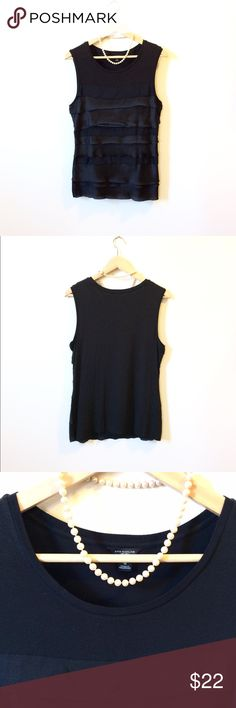 ✨NWOT✨ANN TAYLOR Black Jersey/Satin Tiered Tank ✨NWOT✨ ANN TAYLOR Black Jersey Tank Top with Satin Tiered Front. Scoop Neck. Comfortable Arm Holes. Classic. Flattering. Feminine. Edgy. Size M  Condition: New/NWOT  Material: Rayon/Spandex/Polyester  Length (shoulder-to-hem): 26in Shoulder Width (shoulder-to-shoulder): 15in Chest Width (flat): 17.5in Ann Taylor Tops Tank Tops