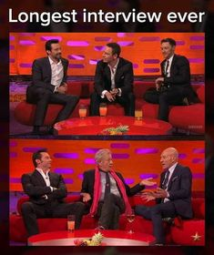 How long was this interview? Hugh Jackman, Michael Fassbender, James McAvoy on the Graham Norton Show. Hugh Jackman, Ian McKellen, and Patrick Stewart on the Graham Norton Show in Hugh Jackman, Marvel Dc, Marvel Funny, Captain Marvel, Marvel Comics, X Men Funny, Funny Kids, James Mcavoy, Avengers Memes