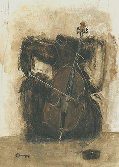 Cellist by Emi Suzuki 鈴木恵美s, acrylic on handmade mulberry paper (first seen on Art Room Plant)