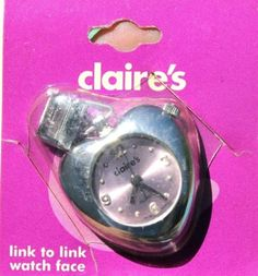Claires-Link-to-Link-Stainless-Steel-Italian-Charm-Heart-Shape-Pink-Face-Watch