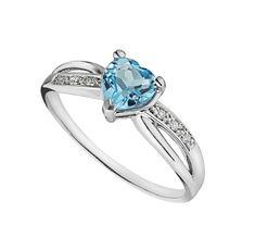 9ct white gold heart-shaped blue topaz and diamond ring | Diamonds | Jewellery | Fraser Hart Jewellers