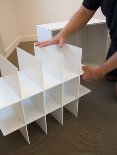 Double your shoe storage by making this Shoe Trolley shoe organizer. Full how-to showing how to attach 4 cubbies together and add a base with wheels. Shoe Storage Small, Closet Shoe Storage, Diy Shoe Rack, Wall Storage, Diy Storage, Closet Organization, Storage Ideas, Creative Storage, Diy Shoe Organizer