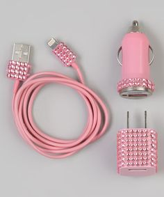 Take a look at this Pink Rhinestone Lightning Cable Charger Set for iOS Device by Zulily on #zulily today!