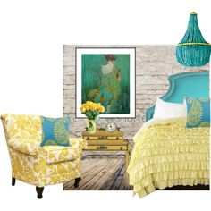 Turquoise and Yellow, created by tinyturtle73 on Polyvore