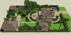 Landscape Architecture Drawing, Landscape Design Plans, Garden Design Plans, House Landscape, House Architecture, Farm Layout, Backyard Layout, Backyard Pool Landscaping, Painted Front Porches