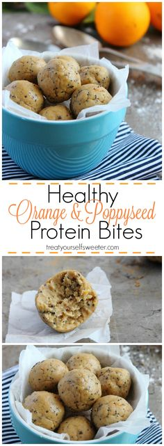 Orange and Poppyseed Protein Bites; small, cookie dough like, protein packed, sweet bites of healthy deliciousness. No bake and ready in minutes!