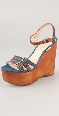 832d6b31d32b Kors by Michael Kors - Blue Jacinda Denim and Leather Slingback Wedge  Sandals - Lyst