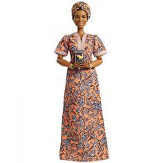Mattel Unveils Barbie Doll Honoring Maya Angelou Ahead of Black History Month Maya Angelou, Afro, Female Poets, Girl Hair Colors, Signature, Black Barbie, Doll Stands, Floor Length Dresses, Bubblegum Pink