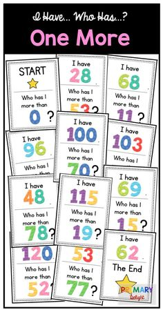 Practice number sense by identifying the number that is one more in this fun I Have... Who Has..? game. Great for kindergarten and first grade!