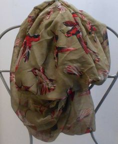 Cotton Scarves, Summer Scarves, Bird Prints, Hummingbird, Shawls, Bathing Suits, Infinity, Cover Up, Beautiful Women