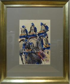 Aurora Gallego : Carriage. Medium: Oil on paper Measurements (cm): 74x62 Canvas measurements (cm): 42x30 Interior frame: No. Aurora delights us with her talent for flowing lines, the naturalness of composition and the firm and smooth brushwork with which she paints her pictures.  $318.82
