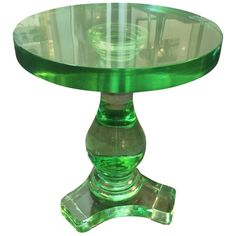 Exquisite Green Glass Occasional Table | From a unique collection of antique and modern side tables at https://www.1stdibs.com/furniture/tables/side-tables/