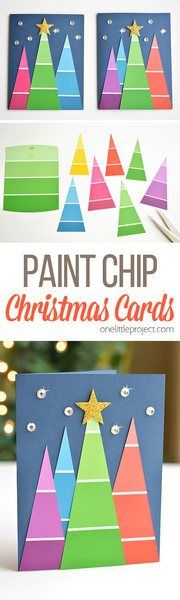 These paint chip Christmas cards are SO BEAUTIFUL and they're really easy to make! They're so simple, but end up looking amazing! Such a great homemade Christmas card idea! gift for school Paint Chip Christmas Cards Homemade Christmas Cards, Christmas Crafts For Kids, Christmas Activities, Christmas Art, Christmas Projects, Homemade Cards, Holiday Crafts, Christmas Holidays, Christmas Decorations