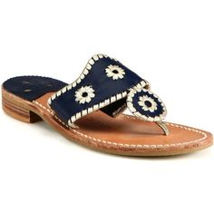 Jack Rogers Palm Beach Leather Sandals ($80) ❤ liked on Polyvore featuring shoes, sandals, navy blue leather sandals, flat shoes, palms sandals, beach sandals and leather sandals