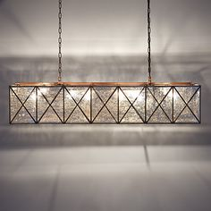 Shop for contemporary chandelier lighting at Arhaus. Our unique chandeliers are a perfect way to brighten up your living or dining room. Rectangle Light Fixture, Copper Light Fixture, Dining Room Light Fixtures, Rectangle Chandelier, Copper Lighting, Kitchen Lighting Fixtures, Antique Lighting, Lighting Truss, Chandeliers