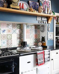 Kitchen with Aga and Patterned Tile Splashback